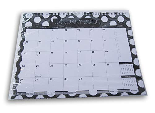 Wall Spiral - Monthly Spiral Wall Calendar 2019 (Black and White Dot)