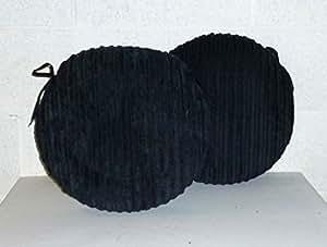 2 x Zippy 50,8 cm redondo cojines de asiento - negro fornida gzip - asiento almohadillas para hogar y muebles de jardín