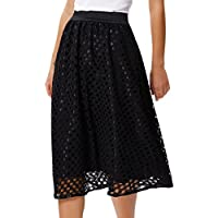 GRACE KARIN Women's Flare High Waist Lace Midi Skirts Wear to Work