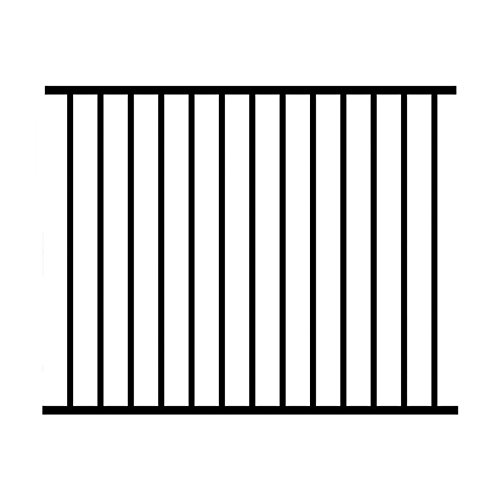 Jerith 48 x 72 in. Black Unassembled 2-Rail Aluminum Fence Section