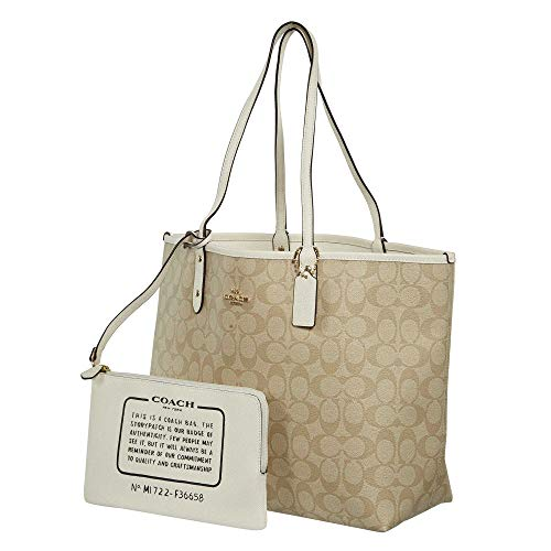 Khaki Reversible Coach Tote Light F36609 City Signature PVC TZx5gwqx