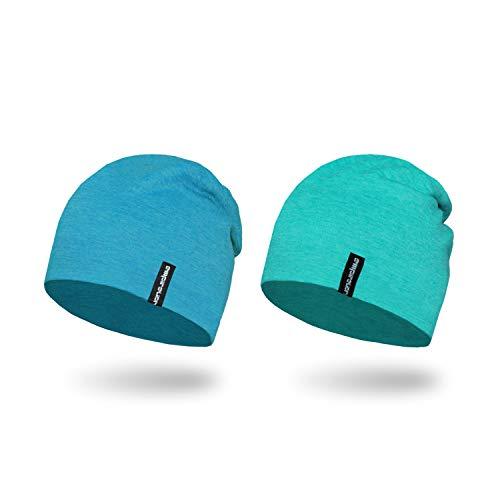 Empirelion Slouch Beanies Knit Hat Thin Running Lightweight Skull Cap for Men Women (Peacock Melange+Blue Melange)