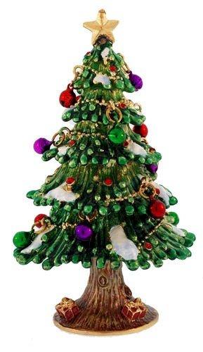 Decorated Christmas Tree Enameled Trinket Box