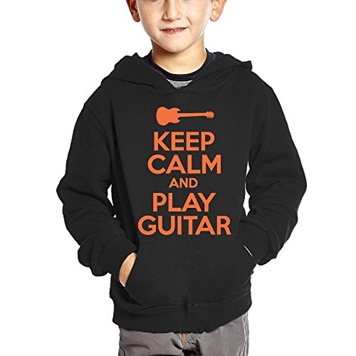 Joapron Keep Calm and Play Guitar Kids Long Sleeve Pocket Pullover Hooded Sweatshirt Black Size 5-6 Toddler