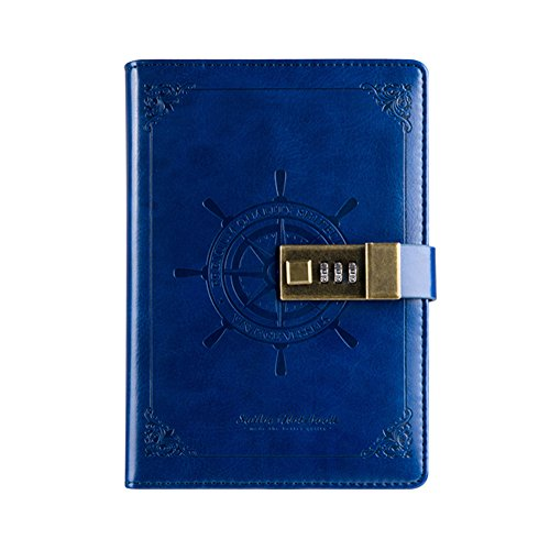 SAIBANG PU Leather Journal Writing Notebook, Fashion Daily Notepad with Combination Lock, Card Slots, Pen Holder, B6 Size Password Diary Wirebound Notebook - Blue