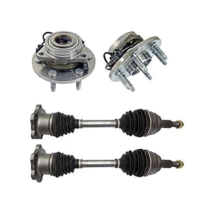 Detroit Axle - Both (2) Front CV Axle Drive Shafts + Both (2) Wheel Hub & Bearings 6-Lug W/ABS - for Chevy Silverado 1500, Tahoe & GMC Sierra 1500, Yukon- 10-Year Warranty...