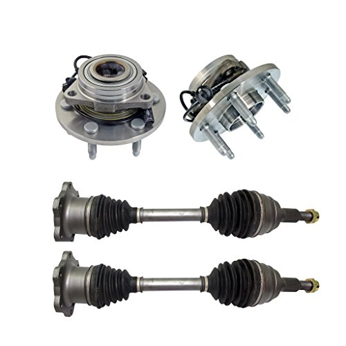 Detroit Axle - Both (2) Front CV Axle Drive Shafts + Both (2) Wheel Hub & Bearings 6-Lug W/ABS - for Chevy Silverado 1500, Tahoe & GMC Sierra 1500, Yukon- 10-Year Warranty…
