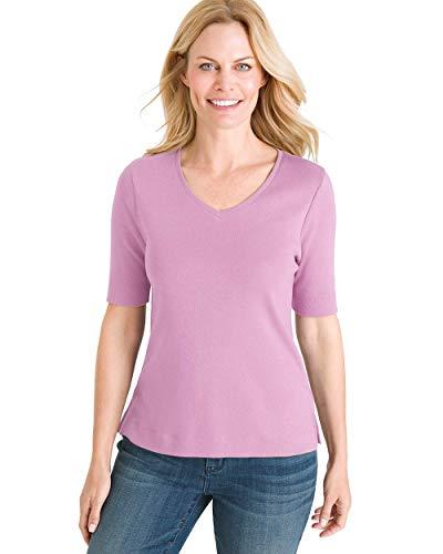 - Chico's Women's Supima Cotton V-Neck Tee Size 12/14 L (2) Purple