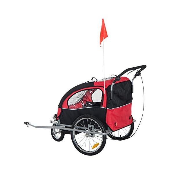 HOMCOM Rimorchio Bici Carrello Bambini Bicicletta Bimbi Gancio Acciaio Sicuro Con Funzione Di Passeggino 4 spesavip