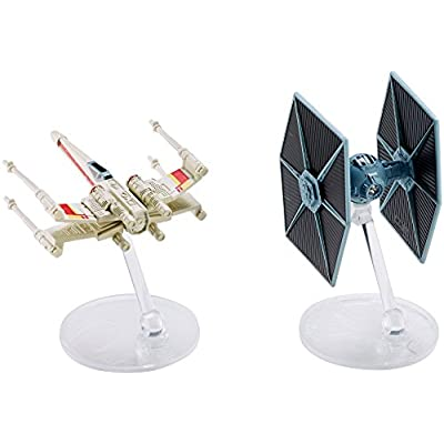 Hot Wheels Star Wars Rogue One Tie Fighter Blue vs. X-Wing Red 2 Wings Open Vehicle (2 Pack): Toys & Games