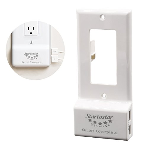 112 Usb (Startostar Decor Outlet Cover Plate with Two USB Chargers (Max 3A Shared) Easy Install - White)