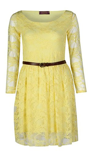 Fashion Charming de mujeres flor Punta Long Sleeves con cinturón corta vestido amarillo