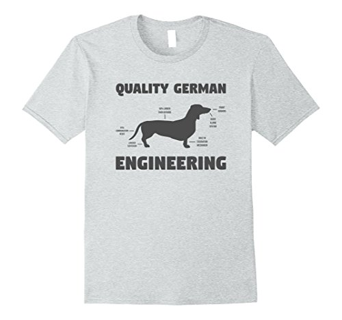 Mens German Engineering - Funny Weiner Dog Dachshund T-Shirt Large Heather Grey