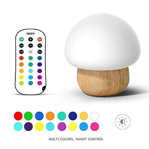 Baby Night Light, LED Bedside Wooden Mushroom Lamp for Kids Bedroom - 16 Color Changing - 5 Brightness (Best Nappies To Use At Night)