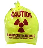 Radioactive Waste Disposal Bags, 3 Mil Thick, 24 x 36 Inches, Yellow Tint, Pre-Printed with Caution Message, 250 per Roll