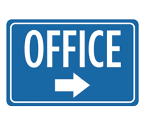 Aluminum Office Print Blue White Notice Right Arrow Business Large Sign, 12x18 by iCandy Combat