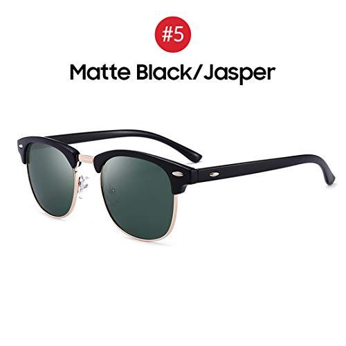 Small Mirror Jasper - YHNSHKHKU Classical Square Men Sunglasses Woman Sun Glasses Polarized Blue Mirror Lens Driver 5 Matte Black Jasper