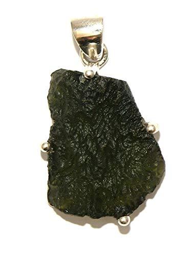 Moldavite Sterling Silver Pendant Raw Rare Natural Crystal MOLDP1801