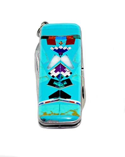 Custom Made Turquoise/Coral Inlay Money Clip with Folding Knife (Folding Money Clip compare prices)