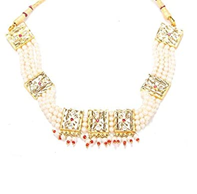 04b2a17ae4798 GoldNera Yellow Gold-Plated White Pearl Necklace Style Charming Choker for  Women