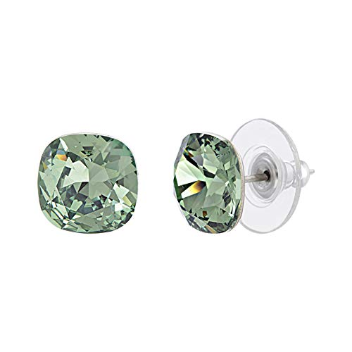 (Devin Rose Cushion Solitaire Stud Earrings for Women in Stainless Steel made with Swarovski Crystal (Erinite Green Color))