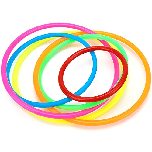 Koogel 18Pcs Multicolor Plastic Toss Rings Ring Toss Game, Speed Agility Training Games Carnival Garden Backyard Outdoor Games Bridal Shower Game Game Booth