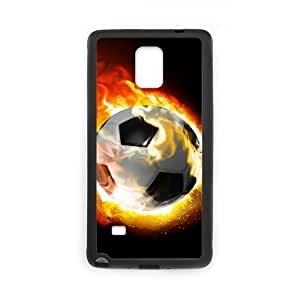 Customized Cell Phone Case Cover for Samsung Galaxy Note 4 with DIY Design Fire Football Soccer ball