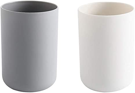 Amazon Com Topbathy 2pcs Simple Bathroom Cup Tumbler Unbreakable Toothbrush Cup White And Grey Home Kitchen