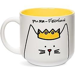 """Pavilion Gift Company - Taza de desayuno, diseño de gato con texto""""Blobby Cat, Funny Cat Purr-Fection"""", color amarillo"""