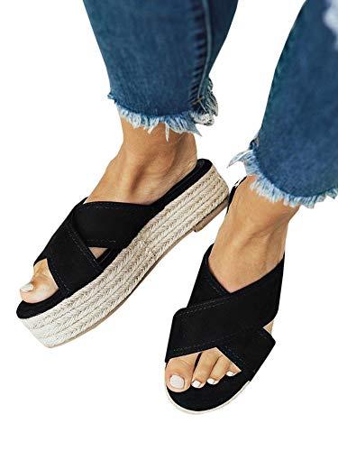 Womens Slip On Platform Espadrille Slides Cross Strap Flat Casual Flatform Sandals
