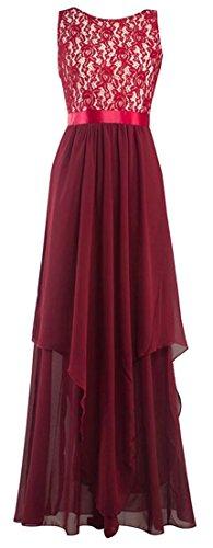 Sleeveless Hem Maxi Wine High Dress Irregular Waist Red Cromoncent Floral Lace Womens 6w8Hv8q5t