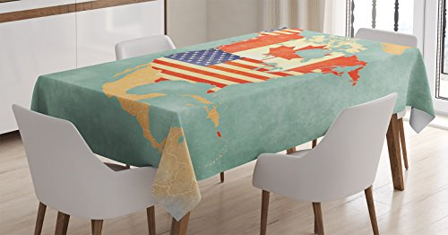 Ambesonne Wanderlust Decor Tablecloth, States and Canada Outline Map of the North America in Grunge Stylized Soft Colors, Rectangular Table Cover for Dining Room Kitchen, 52x70 Inches, Multi -