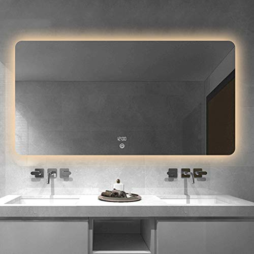 ROMX LED Lighted Bathroom Mirror,Wall Mounted Illuminated Mirror, Anti Fog, Dimmable, Touch -