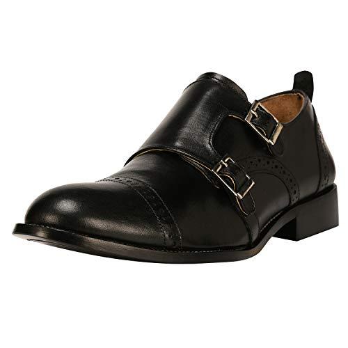 Liberty Men's Leather Double Buckle Monk Strap Cap-Toe Dress Shoes Black