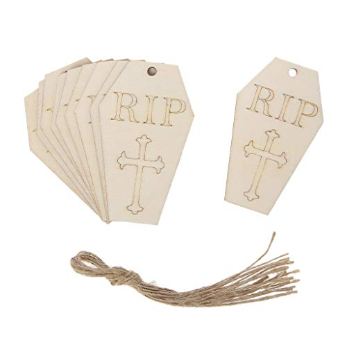 Poity 10Pcs Wooden Halloween Ghost Hanging Pendant Home Decor DIY Ornaments with Rope ()
