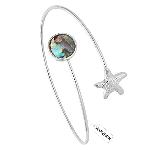 Abalone Cuff Bracelet - MANZHEN Easy Open Adjustable Starfish Abalone Shell Wrapped Memory Wire Bangle Bracelets Cuff Bangle (silver)