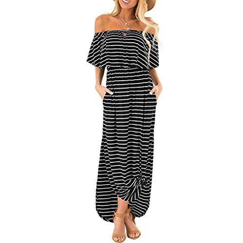 Maxi Dresses for Women,Womens Off The Shoulder Summer Plain Long Dress Stripe Ruffle Side Split Beach Dress with Pockets Black