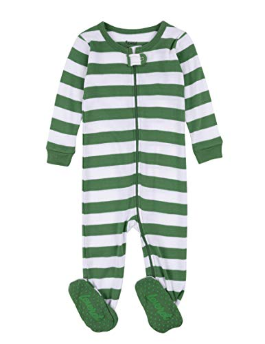 (Leveret Kids Pajamas Baby Boys Girls Footed Pajamas Sleeper 100% Cotton (Green/White, Size 6-12)