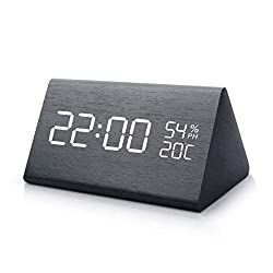MiToo Digital Alarm Clock, Adjustable Brightness Control Desk Wooden Alarm Clock, Display Time Temperature USB/Battery Powered for Bedroom, Office, Kids- Black