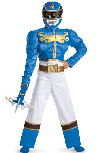 Megaforce Blue Ranger Kids Costumes (Disguise Power Ranger Megaforce Blue Ranger Boy's Muscle Costume, 10-12)