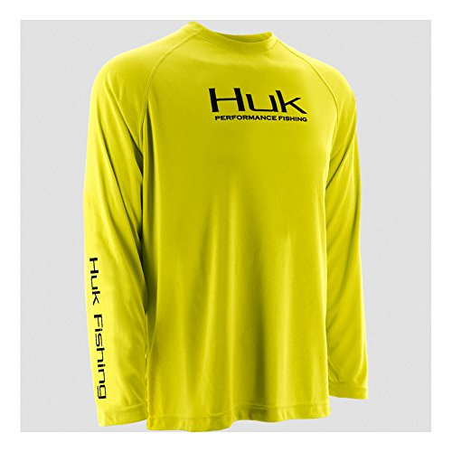 HUK H1200018BYWM Huk Performance Raglan Long Sleeve Shirt, Blaze Yellow, Medium