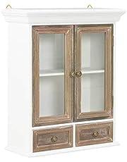 vidaXL Szafka ścienna z litego drewna szafki w stylu francuskim witryna wisząca szafka łatwa w montażu zapewnia dodatkową przestrzeń do przechowywania brązowy i biały