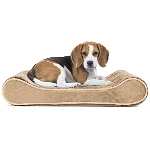 Furhaven Pet Dog Bed | Orthopedic Minky Plush & Velvet Ergonomic Luxe Lounger Cradle Mattress Contour Pet Bed w/ Removable Cover for Dogs & Cats, Camel, Medium