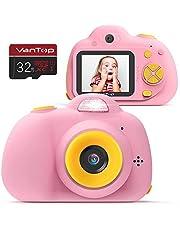 VanTop Appareil Photo Enfants, 8.0MP 1080P HD Caméra Numérique Enfant Vidéo Record Électronique Jouet Cadeaux Anniversaire Noël pour Fille Garçons avec 32G SD Carte Rose