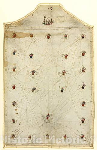 Historic 1484 Map - Asiento Present hordenat a payon les responsions dels pezos e mezures : delahun boch al altre de Tots Los Presents bochs nnomenats Los quals Son Cap e Regiment 44in x 68in