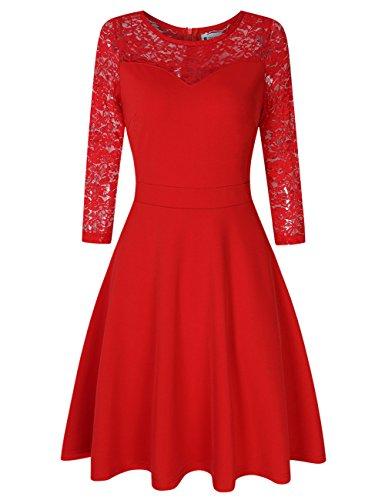 Women A Line Cocktail Dress Empire Wedding Guest Dresses Red L ()