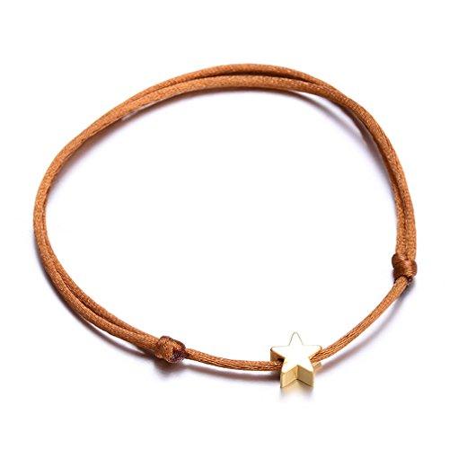 KKUAIEEN NEW Lucky Golden Cross Heart Star Bracelet For Women Children Red String Adjustable Handmade Bracelet DIY Jewelry Brown star -