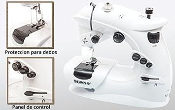 Maquina de coser mini portatil luz y pilas 7 puntadas 2 velocidades pedal pie ( con luz iluminar agujas)