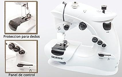 Maquina de coser mini portatil luz y pilas 7 puntadas 2 velocidades pedal pie (con