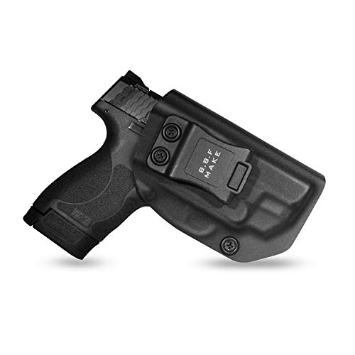 B.B.F Make IWB KYDEX Holster Fit: S&W M&P Shield M2.0 9/40 with Crimson Laser | Retired Navy Owned Company | Inside Waistband | Adjustable Cant | US KYDEX Made (Black, Right Hand Draw (IWB))